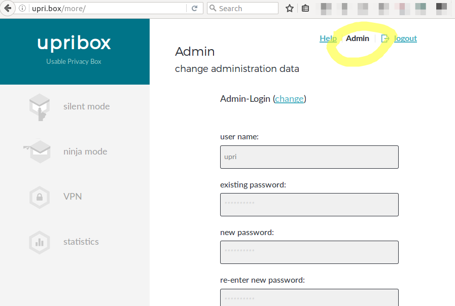 upribox zero-config privacy feature can be enabled in the upribox webinterface within the Admin settings